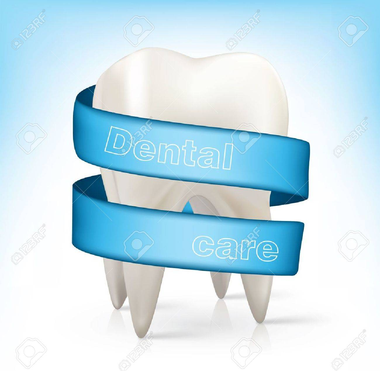 white tooth with a blue ribbon. Stock Vector - 12413501