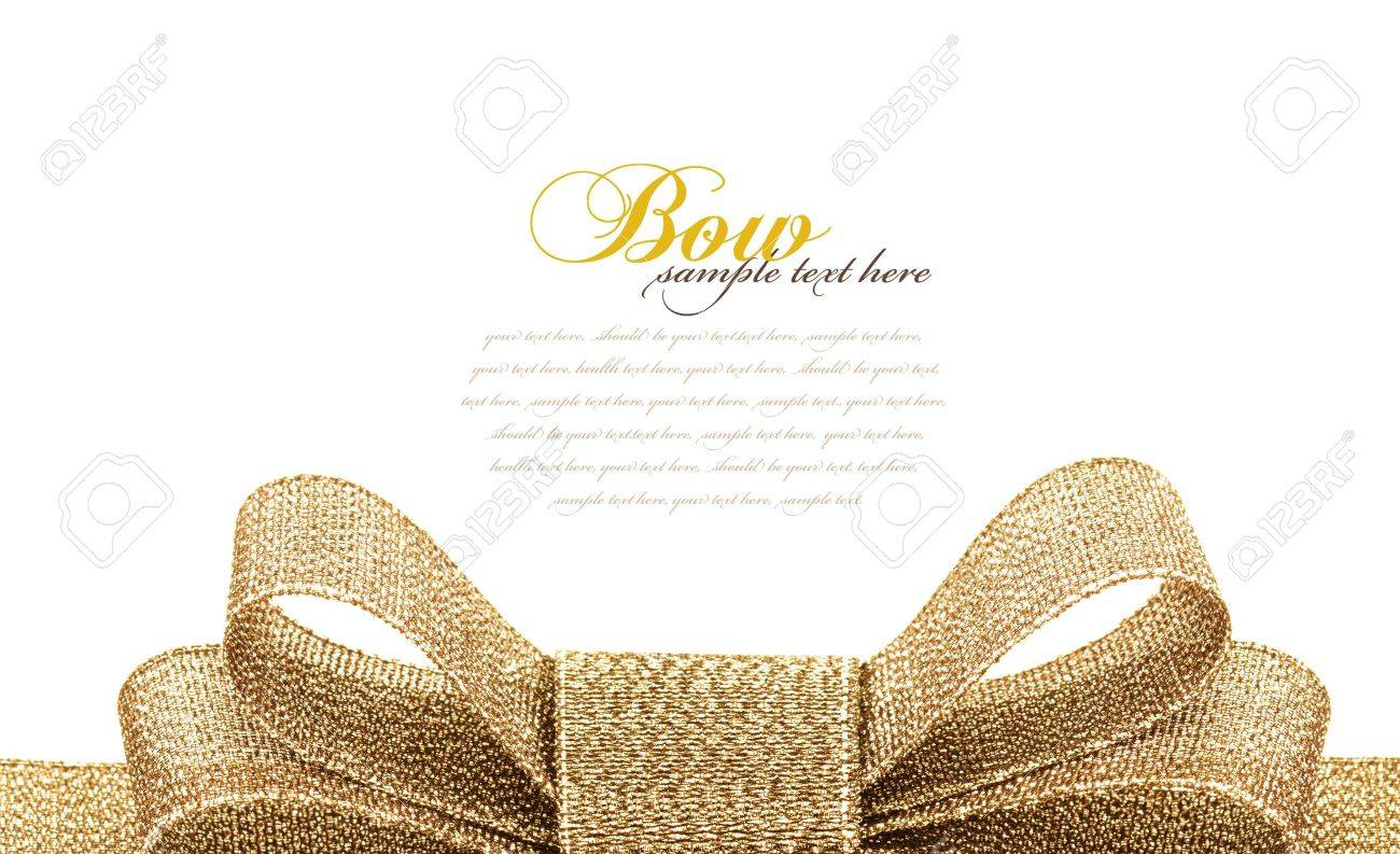 gold bow isolated on white background - 17960847