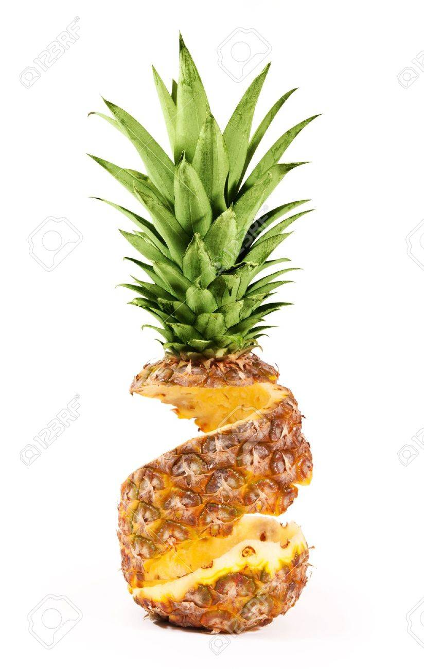 Peel of pineapple isolated on white background - 19020592