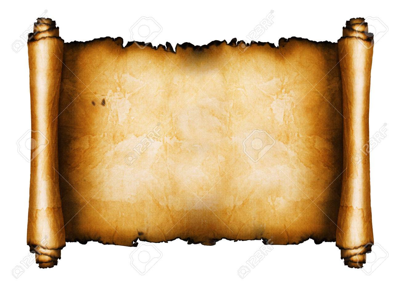 Ancient scroll isolated on white background - 28561407