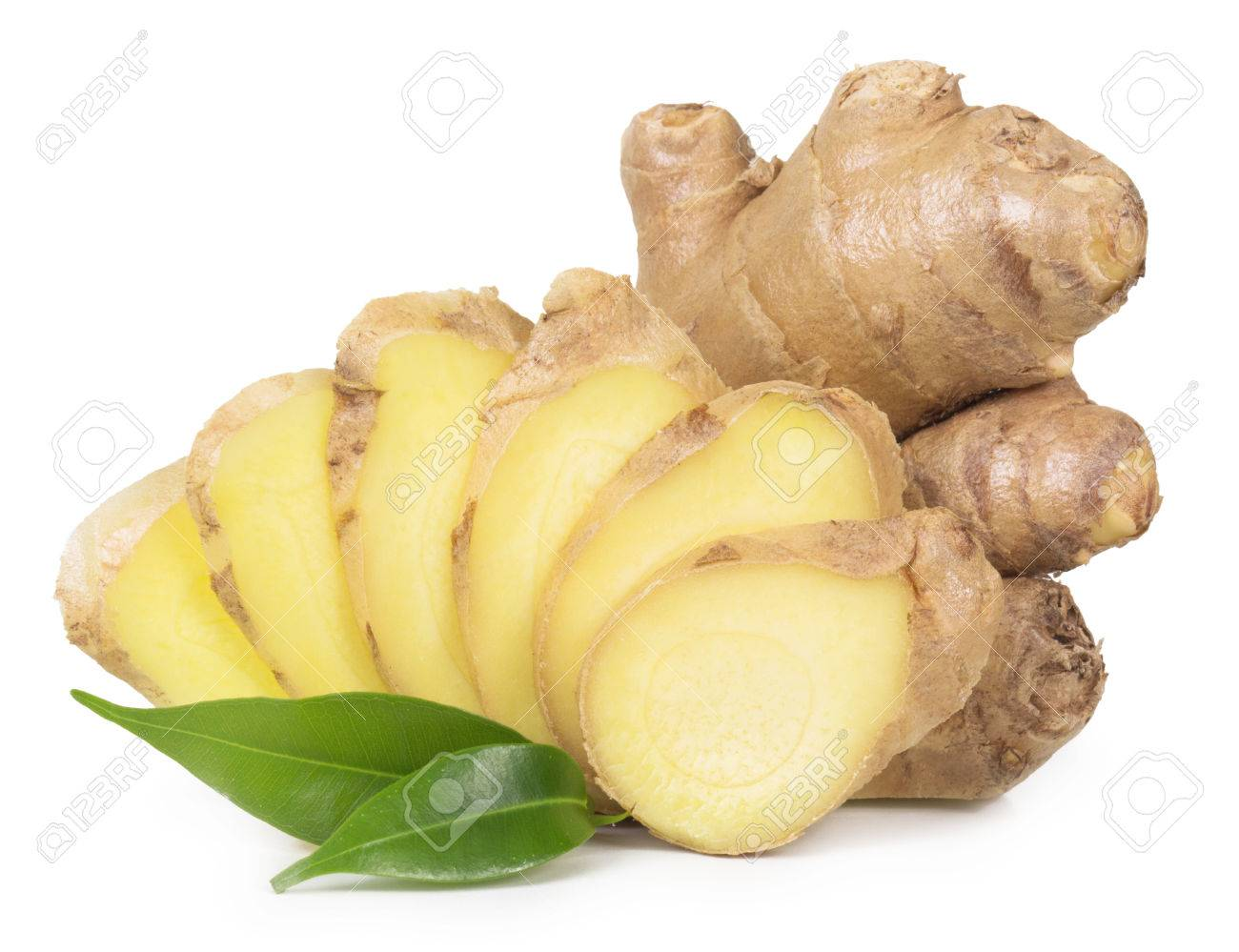 Fresh ginger isolated on a white background. - 54039856