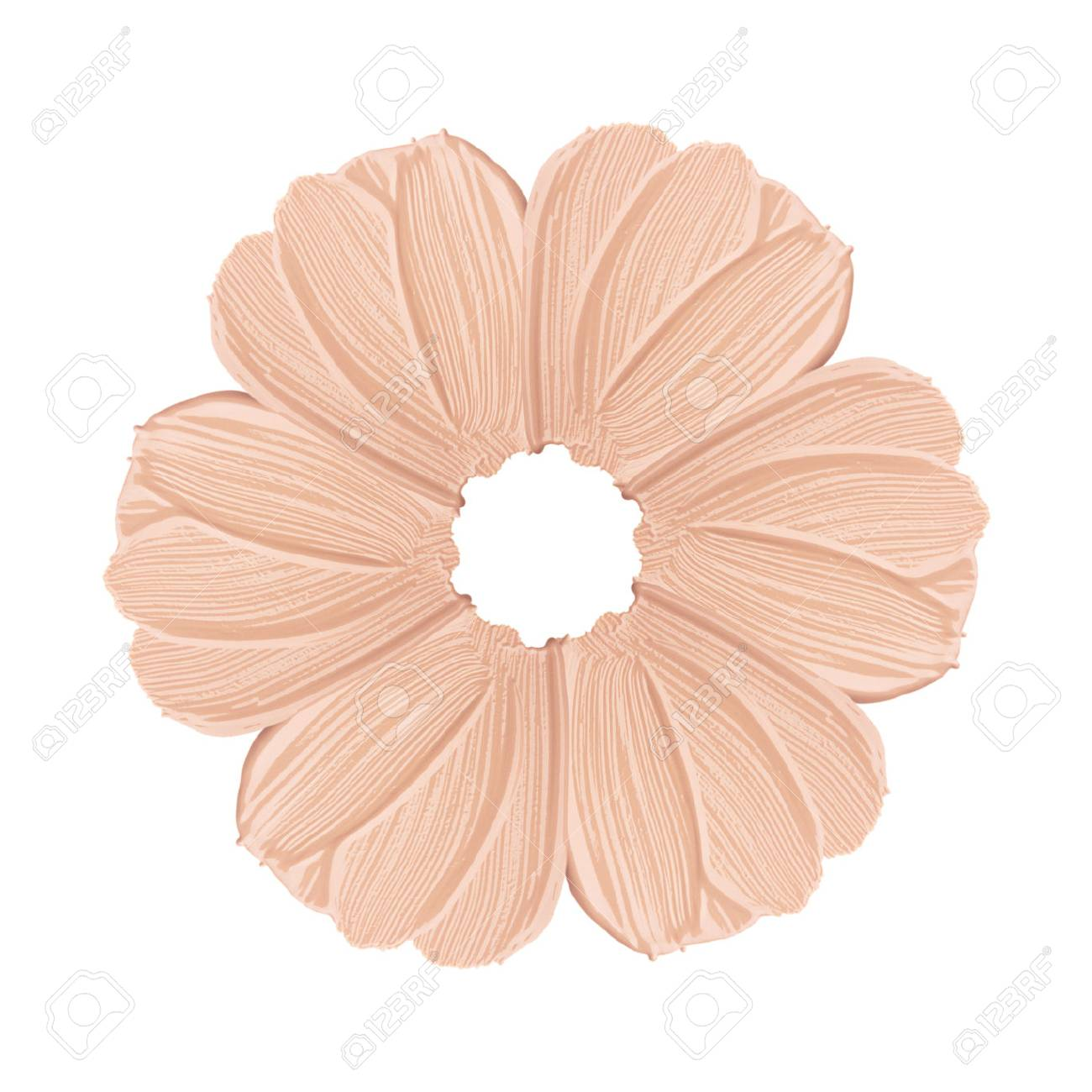 Smears of foundation for face. Conceptual flower from concealer smears. Isolated on white background - 82771706
