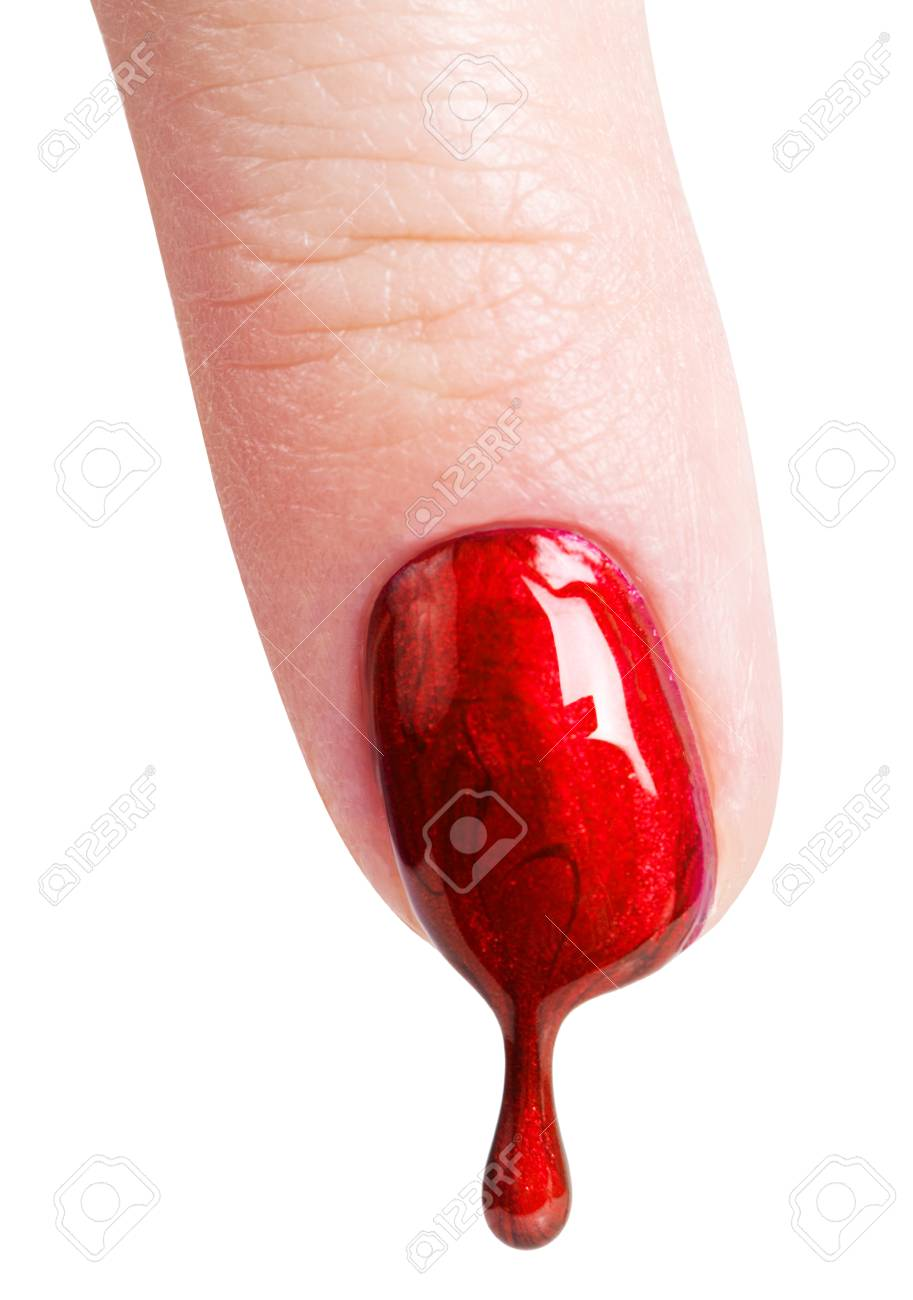 Female Nails Painted Red Nail Polish Dripping On The Stock