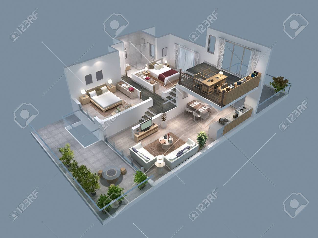 3d illustration of isometric villa plan stock illustration 61643123