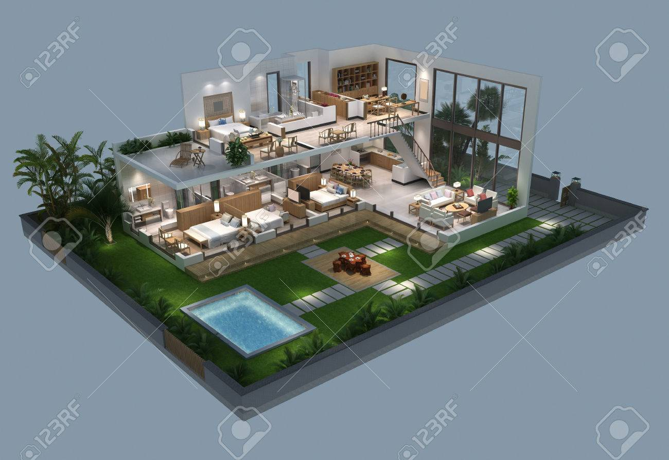 3d illustration of isometric villa plan stock illustration 61643135