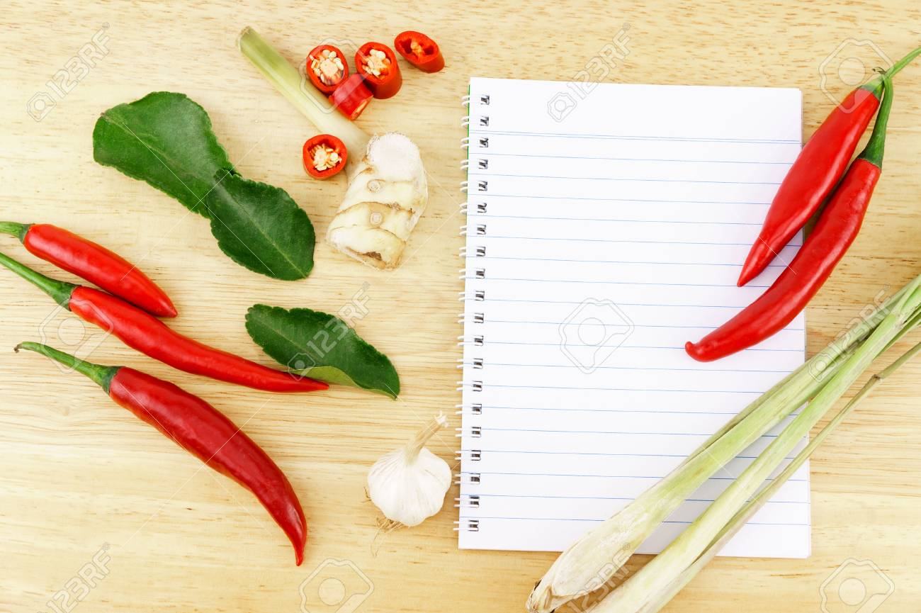 Sliced red hot chili pepper with bergamot leaves, garlic, galangal