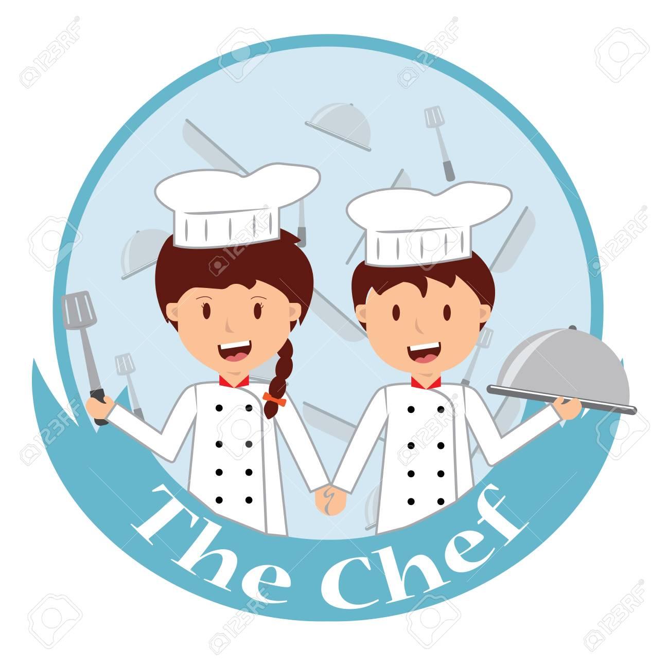 Dessin Animé Mignon De Petit Chef Cuisinier à La Cuisine. Clip Art Libres  De Droits , Vecteurs Et Illustration. Image 89632887.