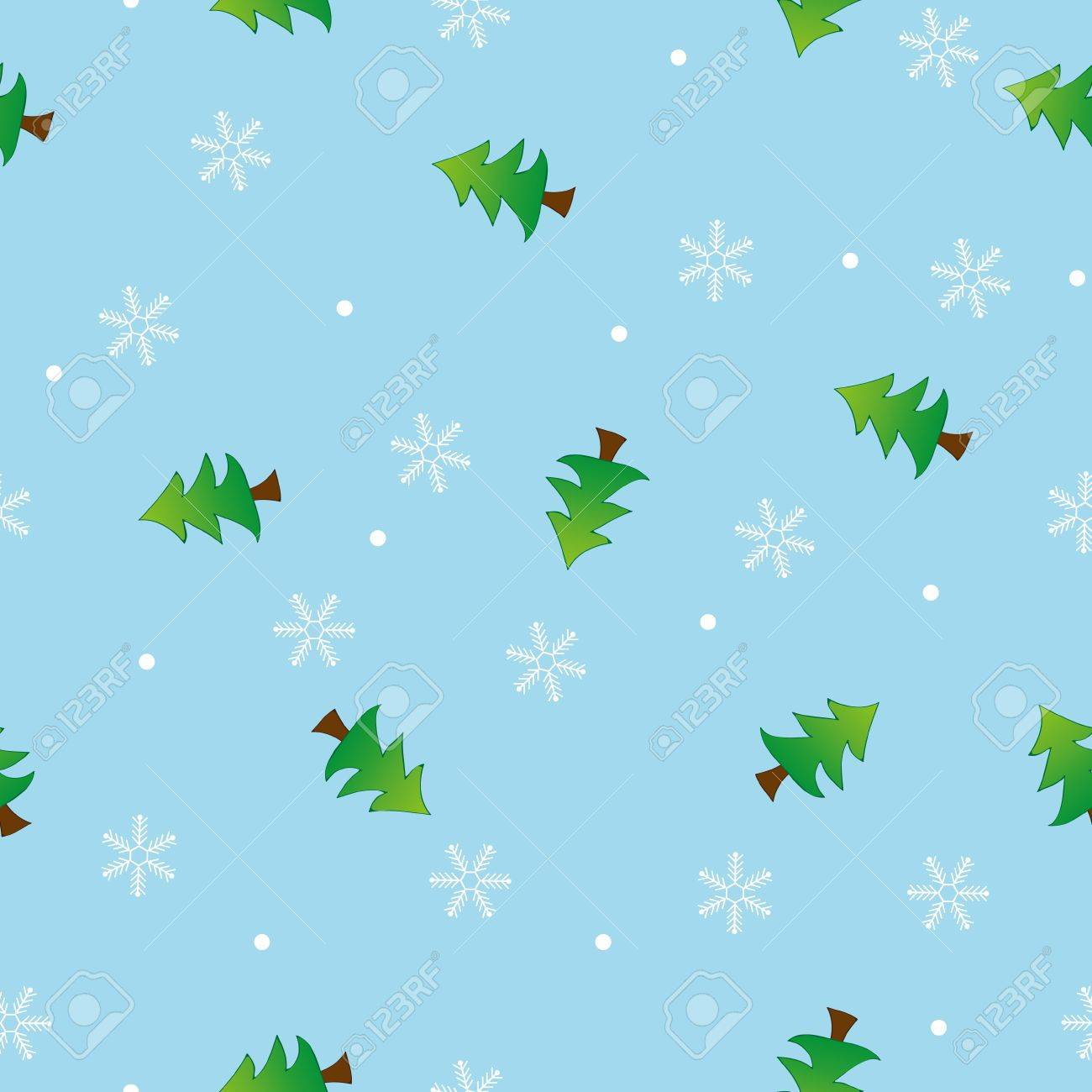 Seamless snowflake and tree pattern blue background,vector Stock Vector - 15602273