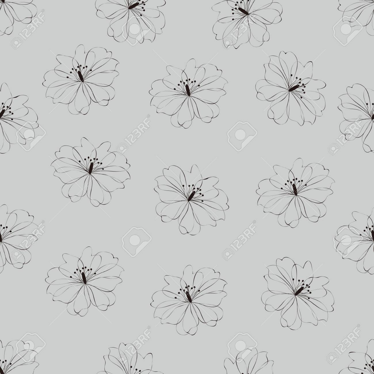 Seamless flower pattern on gray background Stock Vector - 15658539
