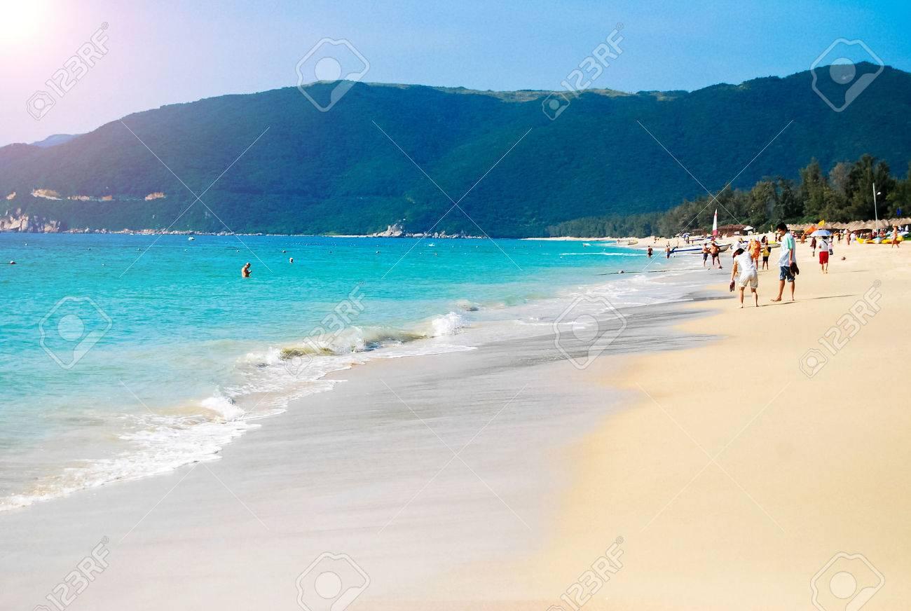 south china sea coast bay yalong hainan island china stock photo