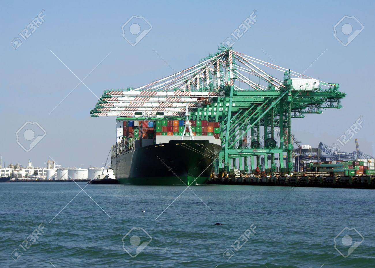 Container ship being loaded Stock Photo - 262461