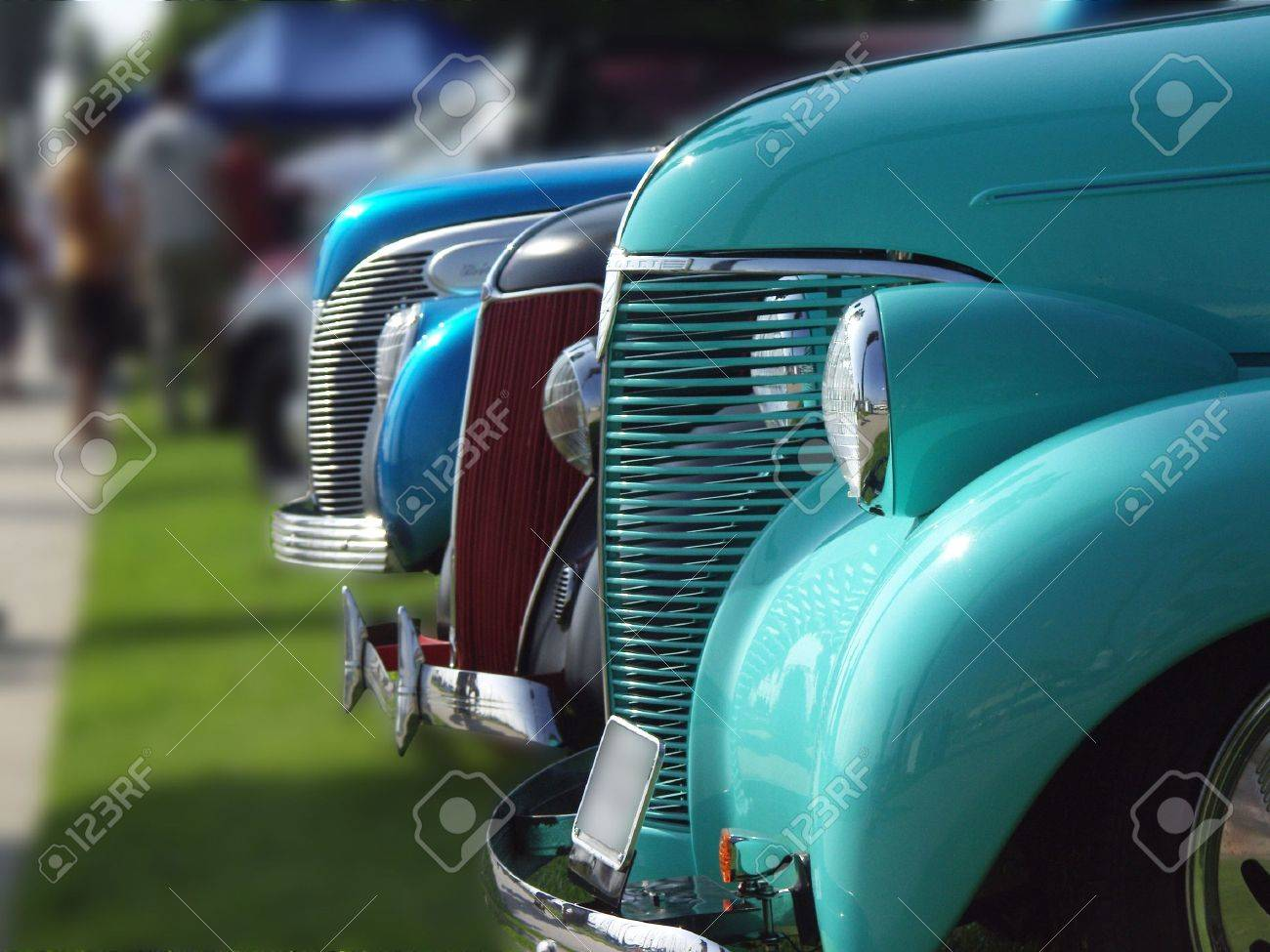 Cars Lined Up At A Vintage Car Show, With Blurred Background Stock ...