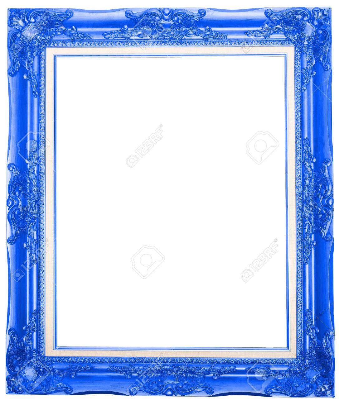 Der Blaue Antiken Bilderrahmen Isoliert Auf Weißem Hintergrund ...