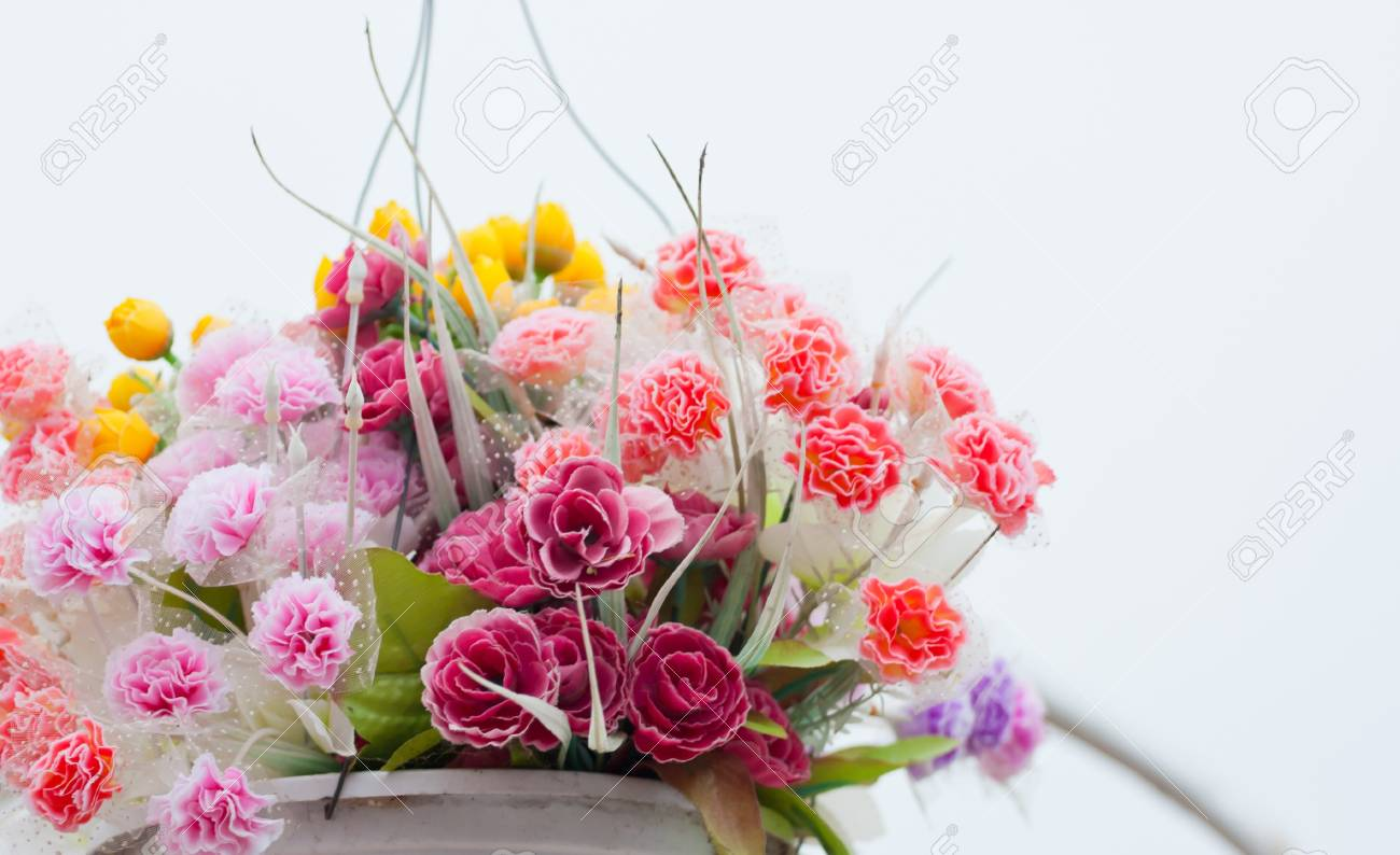 Hanging Artificial flowers pots Stock Photo - 18870475