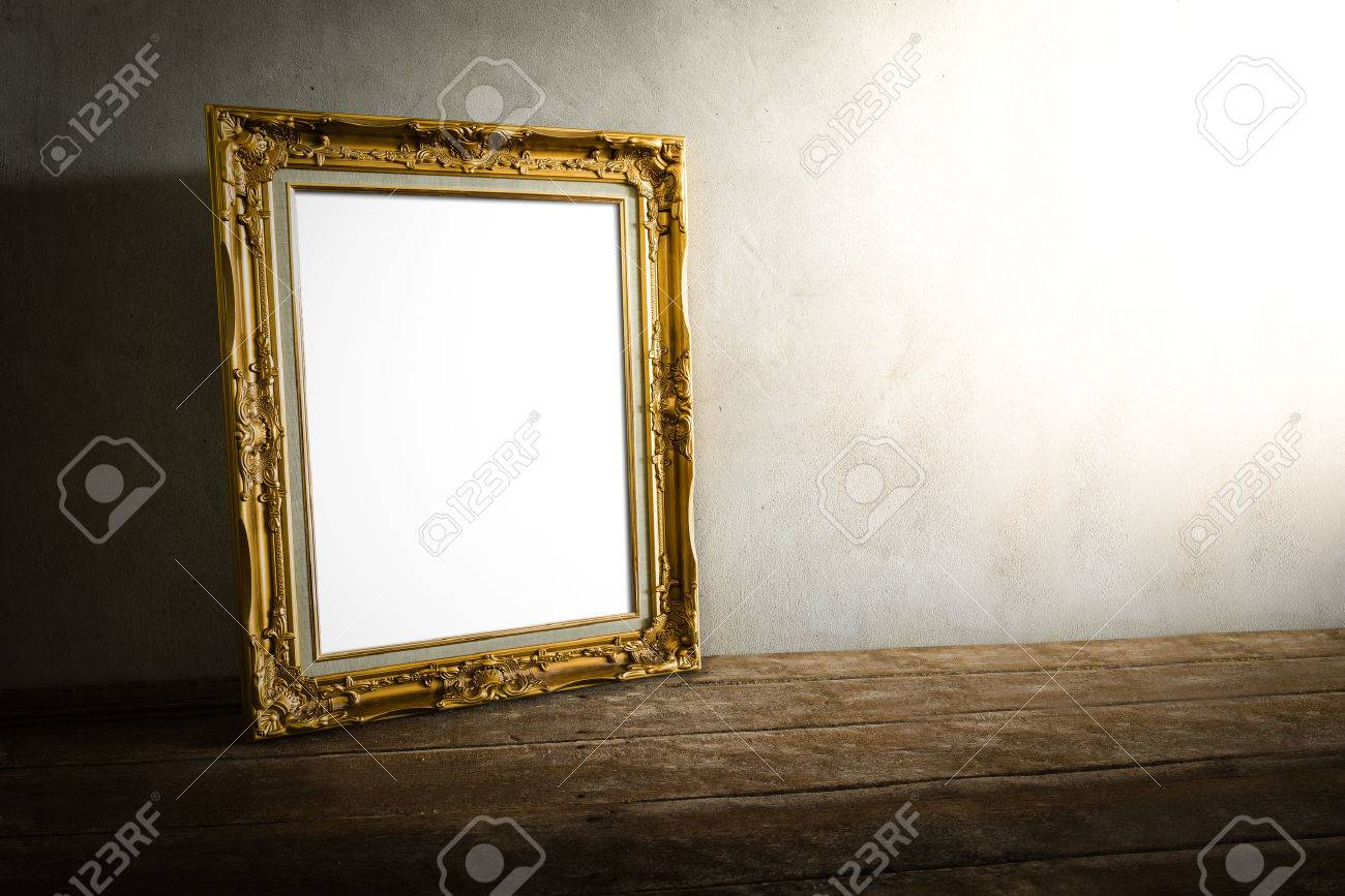 still life of luxurious photo frame on wooden table over grunge background. vintage tone - 38799391
