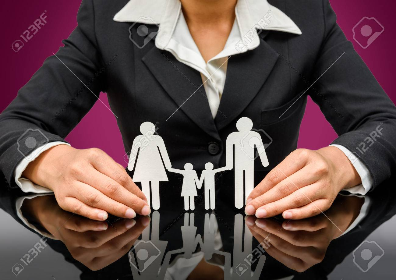people, charity and care concept - close up of business woman hands holding paper family. isolated on white background with clipping path - 43957492