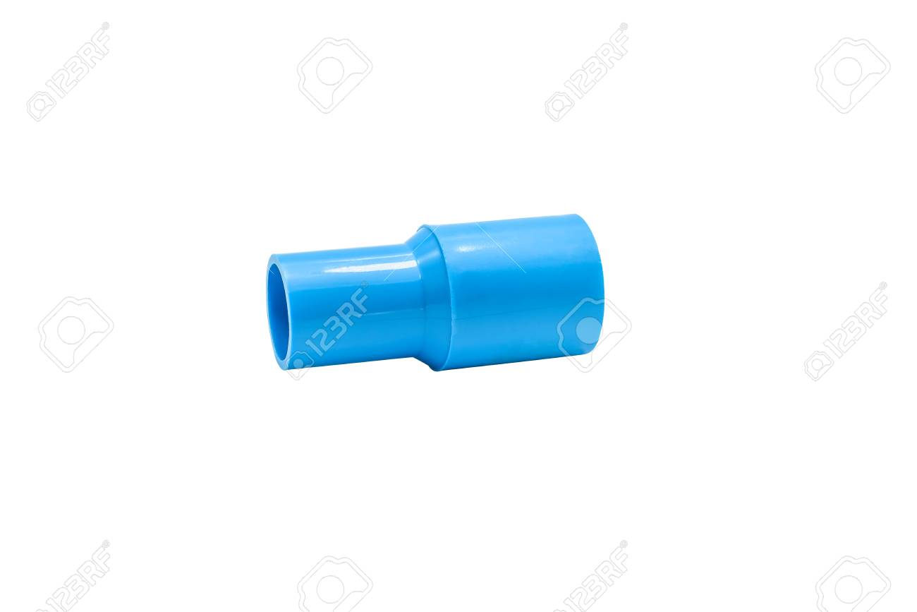 Blue Pvc Pipe Connection With Valve Isolated On White Background An Electrical Wire And Clipping Path Stock Photo