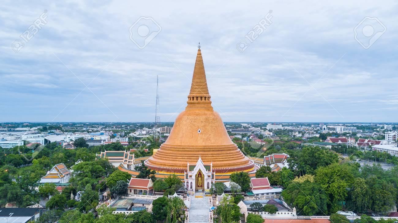 Golden pagoda Phra Pathom Chedi of Nakhon Pathom province Asia Thailand, Aerial Photography - 79814084