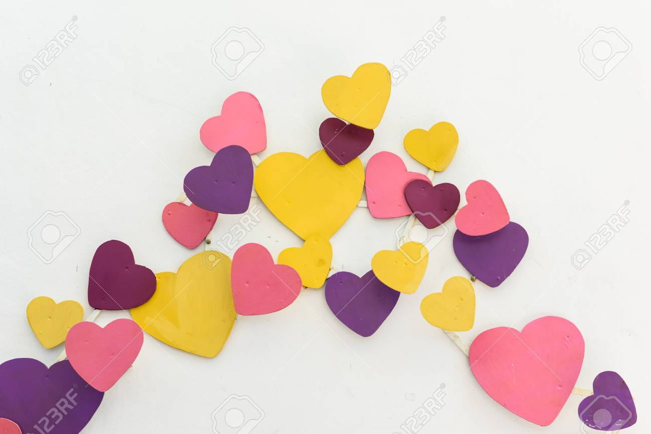 Background Purple With Colorful Heart Decoration And White Wall ...