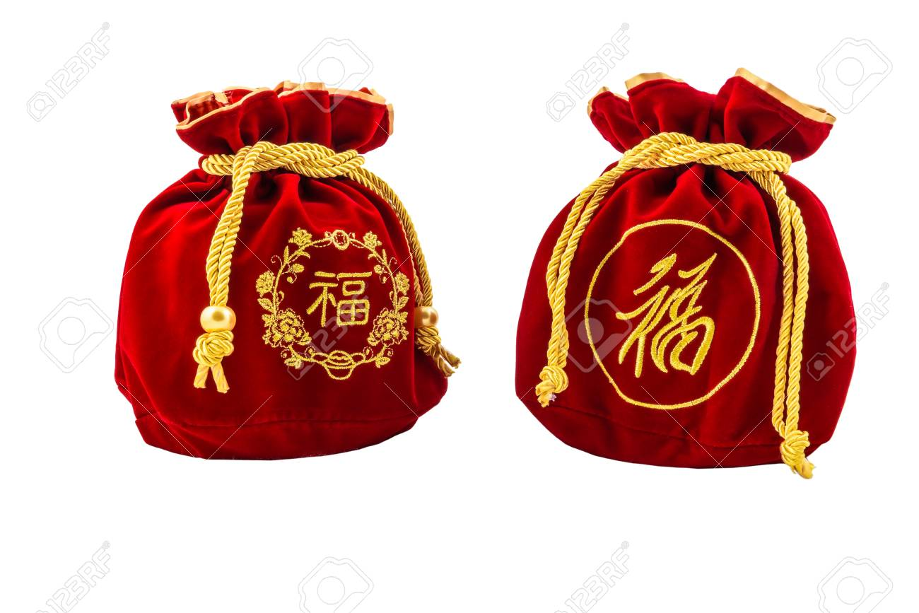 Chinese New Year Red fabric or silk bag, ang pow of Traditional chinese isolated on white background with clippingpath - 94720464