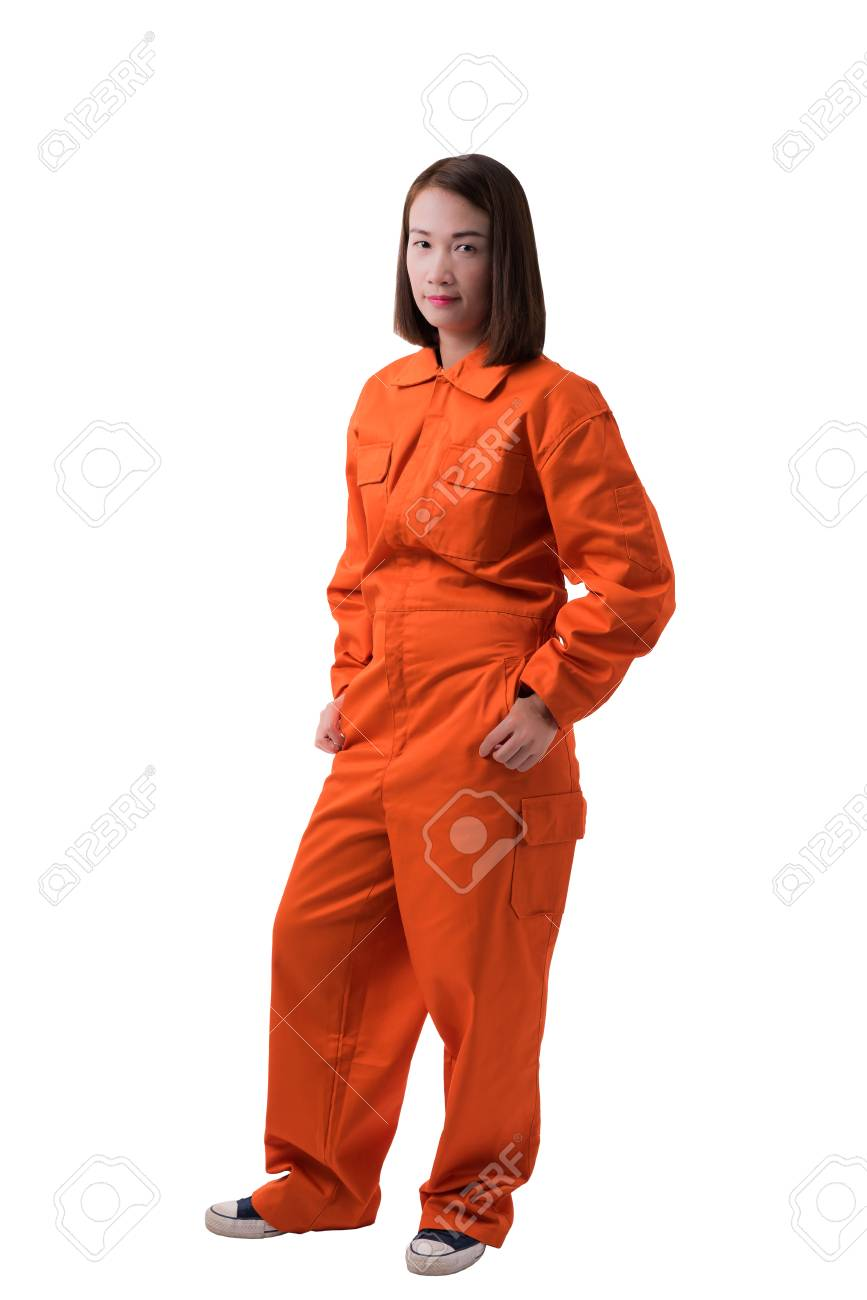 8566d1c4783 Full body portrait of a woman worker in Mechanic Jumpsuit isolated on white  background with clipping