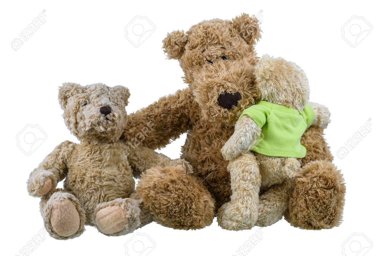 Two bear baby doll sitting on mother bear doll and hugging each other showing love and concern in the family isolated on white background - 128040128