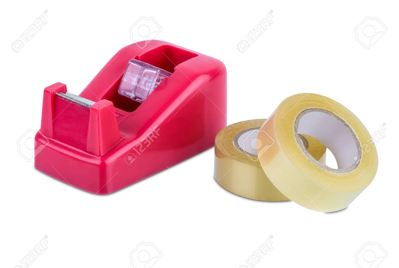 Office Stationary Scotch Tape Dispenser Isolate On White Background