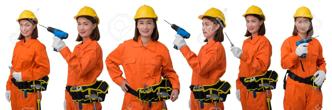 Collection set of construction woman workers wearing Orange Protective clothes, helmet hand holding Craftsman tool with tool belt isolated on white background - 148081517