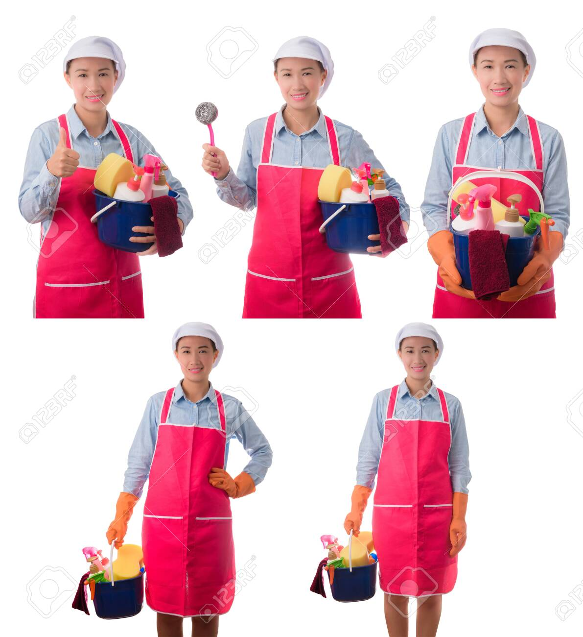Collection set of happy woman, maid, House wife holding a bucket full of cleaning supplies isolated on white background - 149184505
