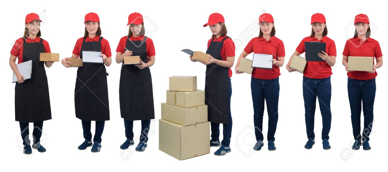 Collection set of full body Portrait Of Delivery woman in red uniform with apron and Parcel boxes making notes on delivery receipt clipboard, isolated on white background. mail, logistics, people and shipping courier service concept - 148081999