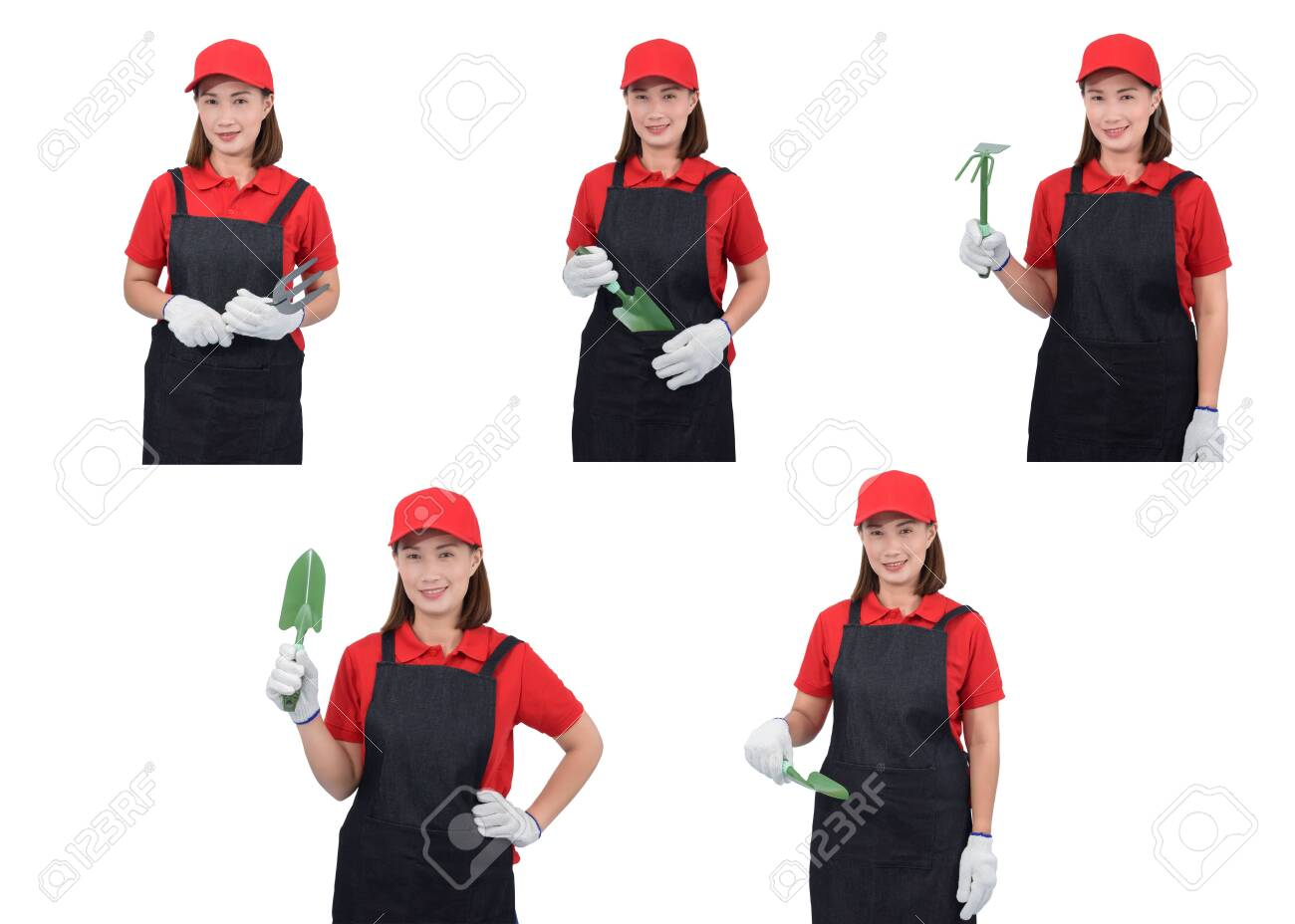Collection set of portrait of a worker woman or Servicewoman in Red shirt and apron is holding Shovel for Cultivators isolated on white background. Hand-made, DIY concept - 149184508