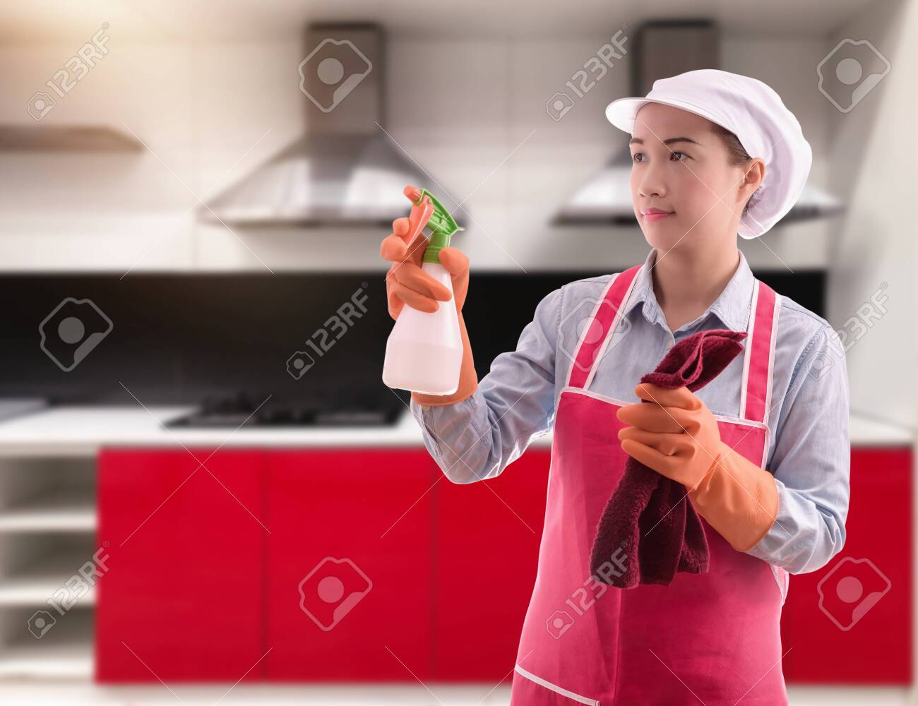 Cleaning concept Woman with washing fluids and rags in hands and cleaning equipment ready to clean house on blurred kitchen background - 149184547