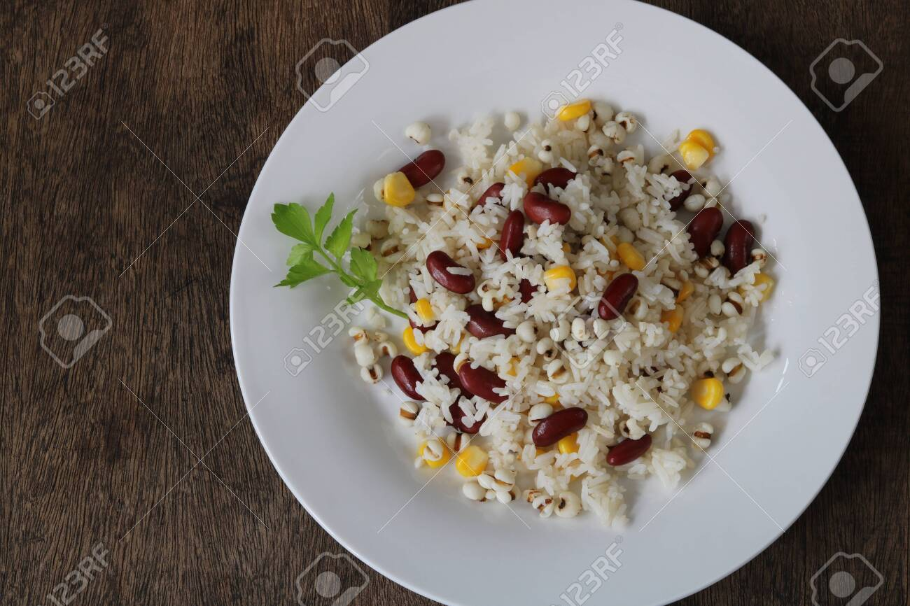 Fried rice with red bean,job's tears and corn top view - 155075274