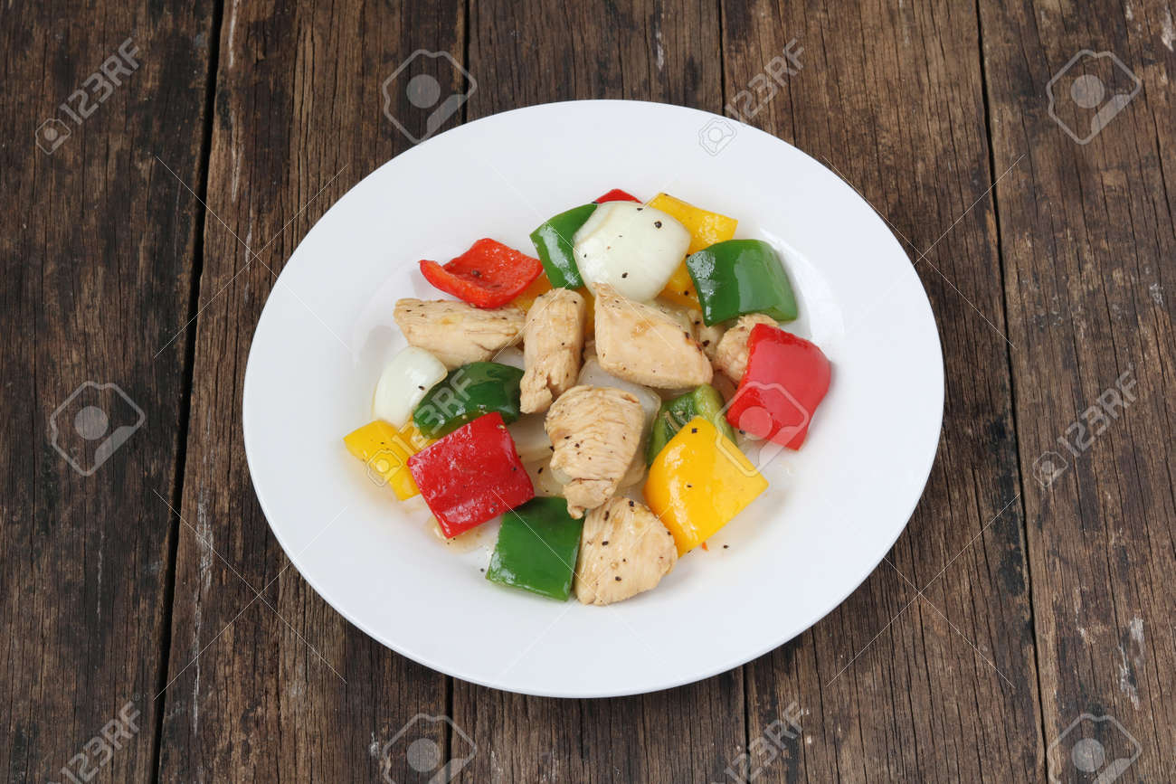 Stir fried chicken and sweet pepper.Homemade meal for good health - 157210632