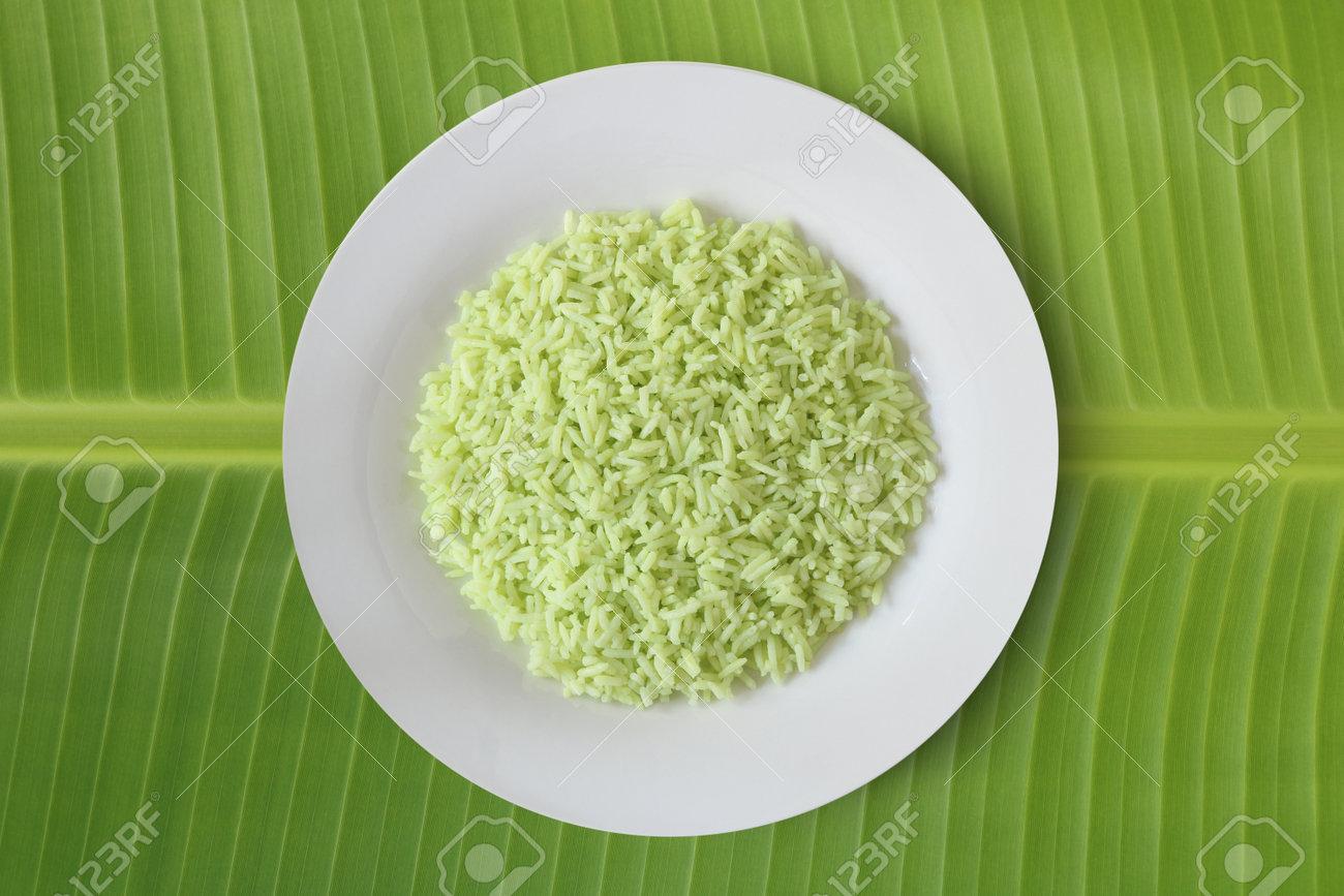 Pandan flavoured rice organic food for good heath on banana leaf top view - 161833193