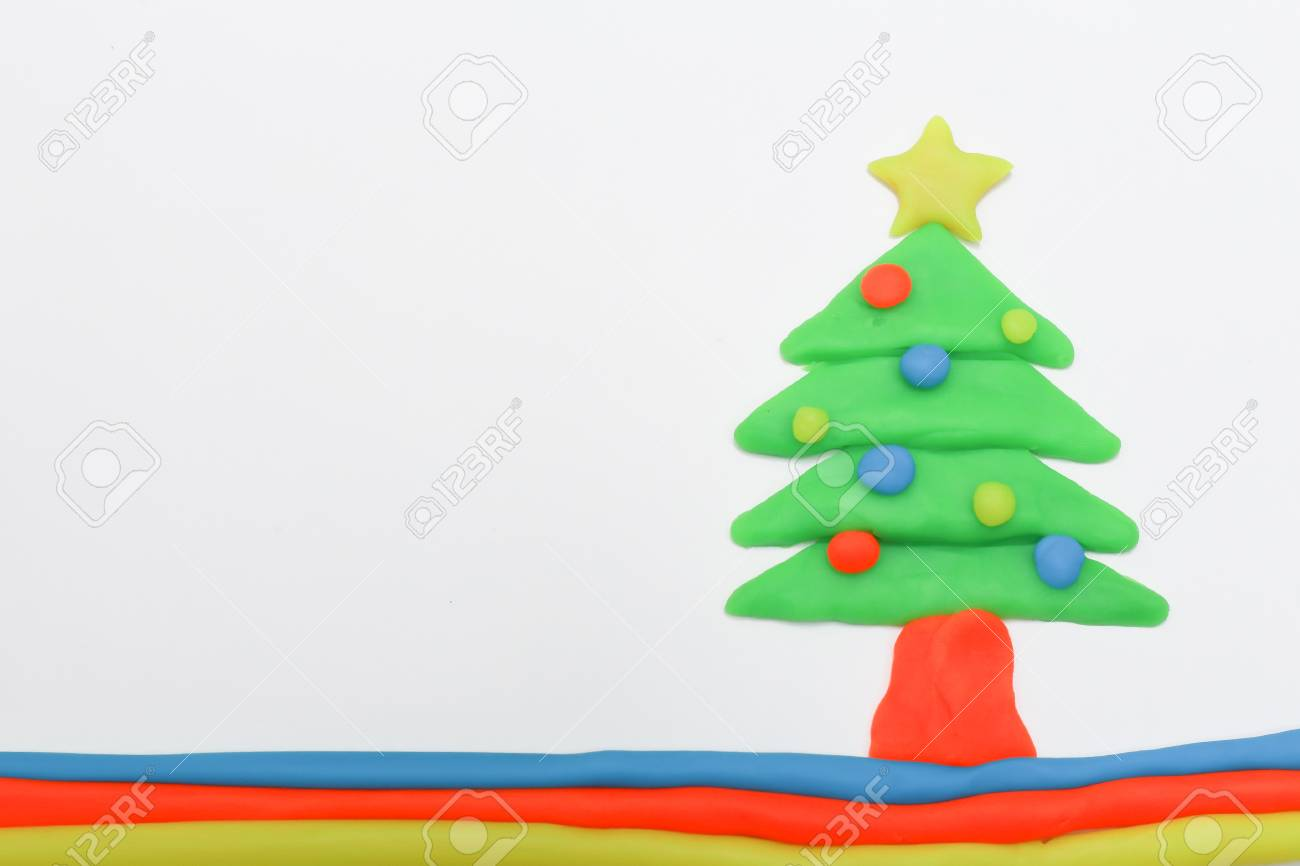 The Christmas Tree Play Dough Close Up Image On White Background ...
