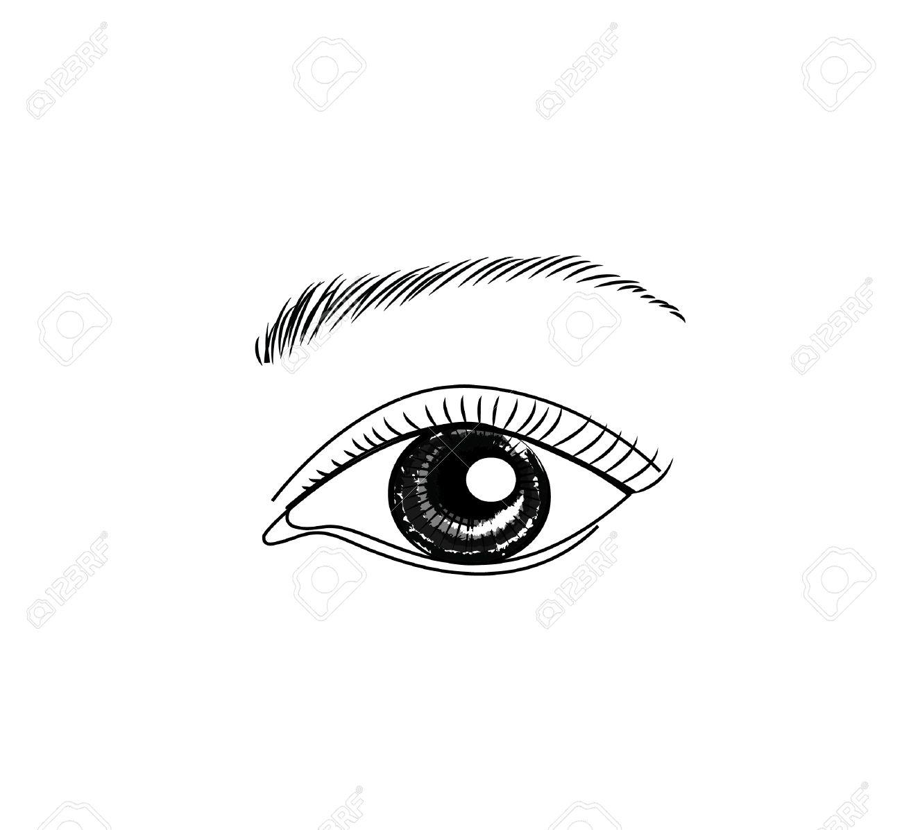 目の手描きスケッチ ベクトル イラスト化粧品とメイクアップのイラスト