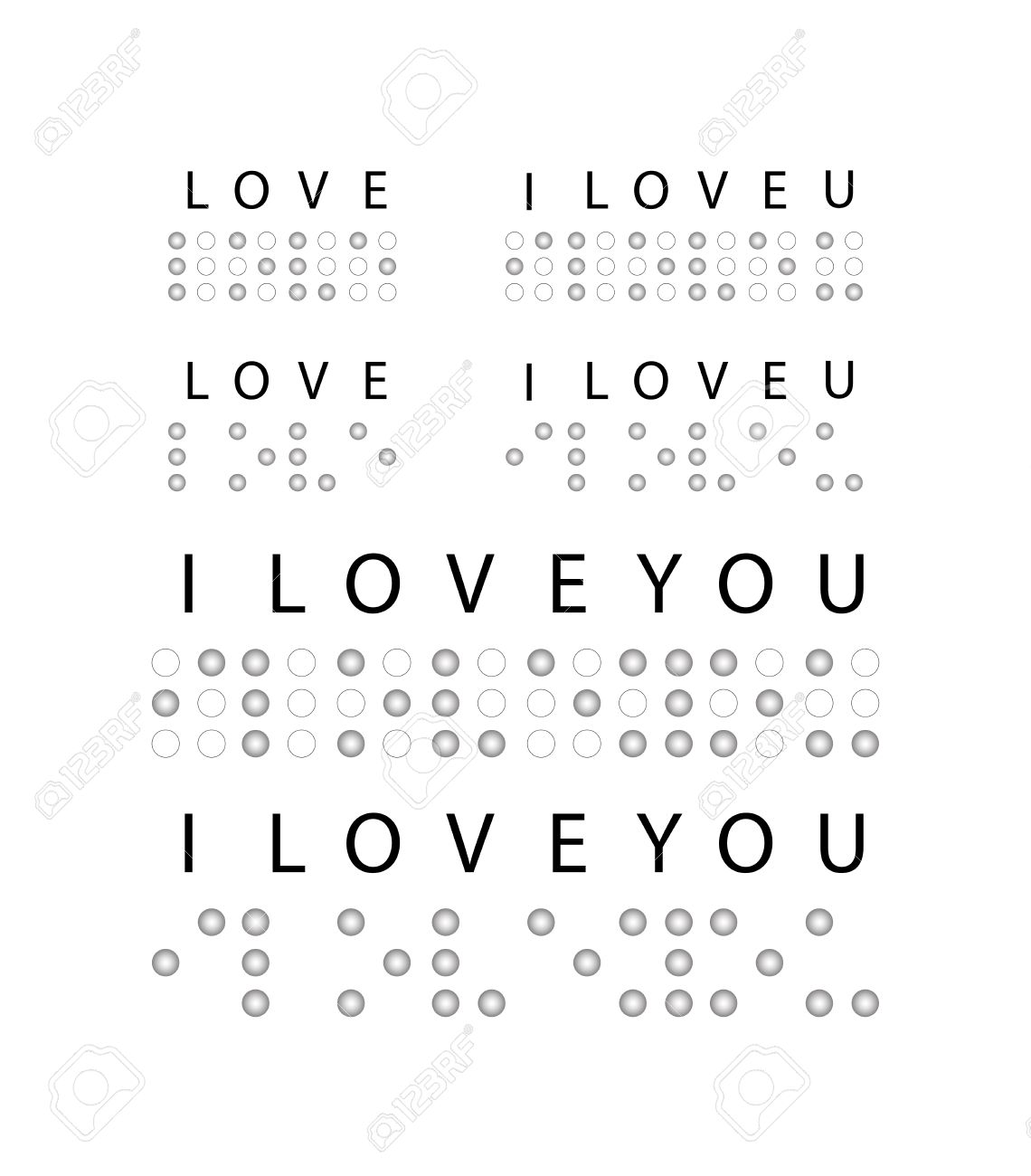 i love you in braille  Vector Illustration Stock Vector - 25431046