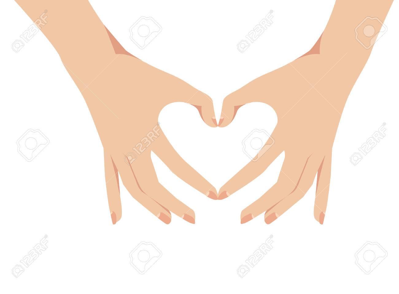 Weibliche Hande Bilden Ein Herz Symbol Vektor Illustration