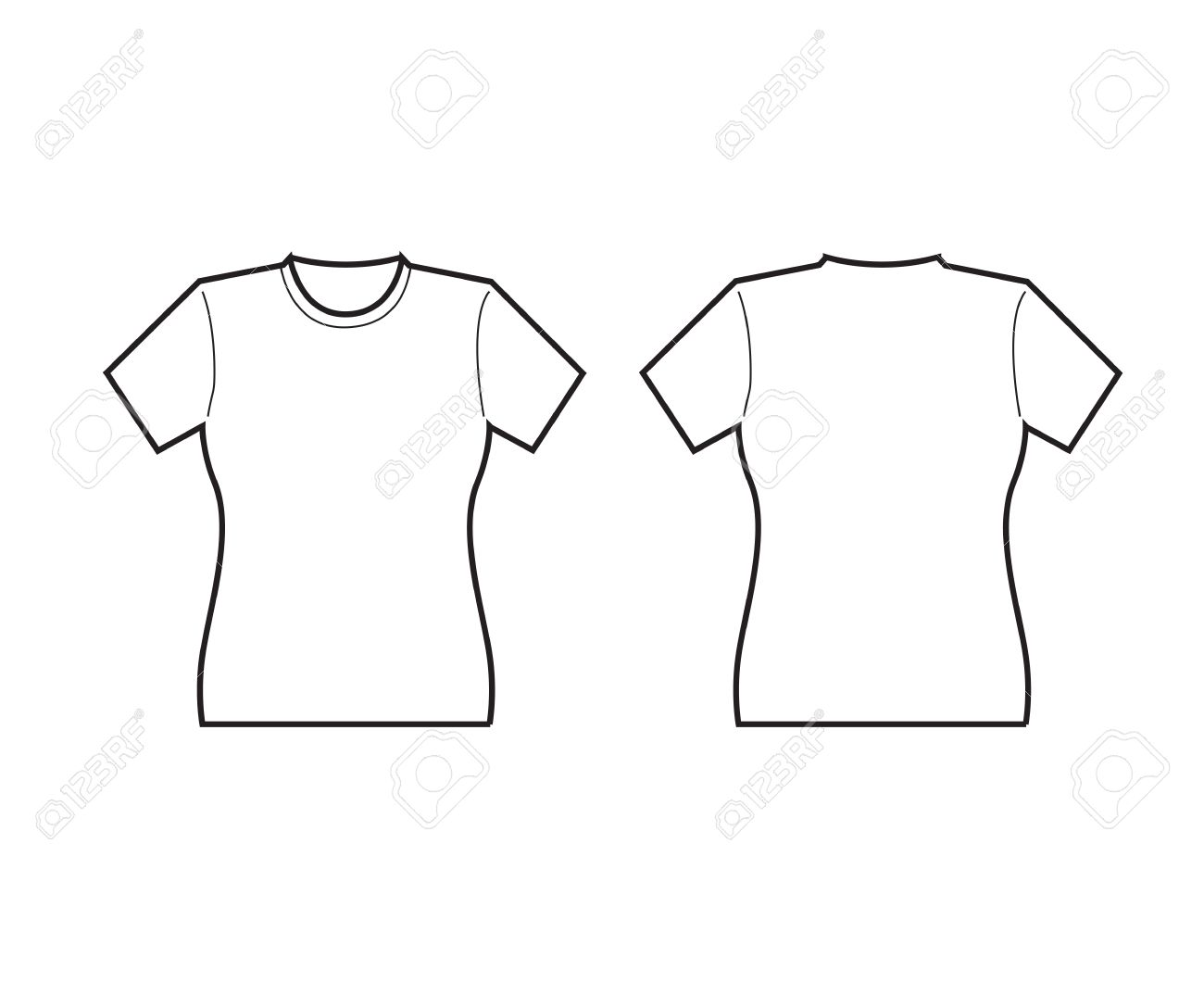 Female T-shirt Template Front And Back Royalty Free Cliparts ...