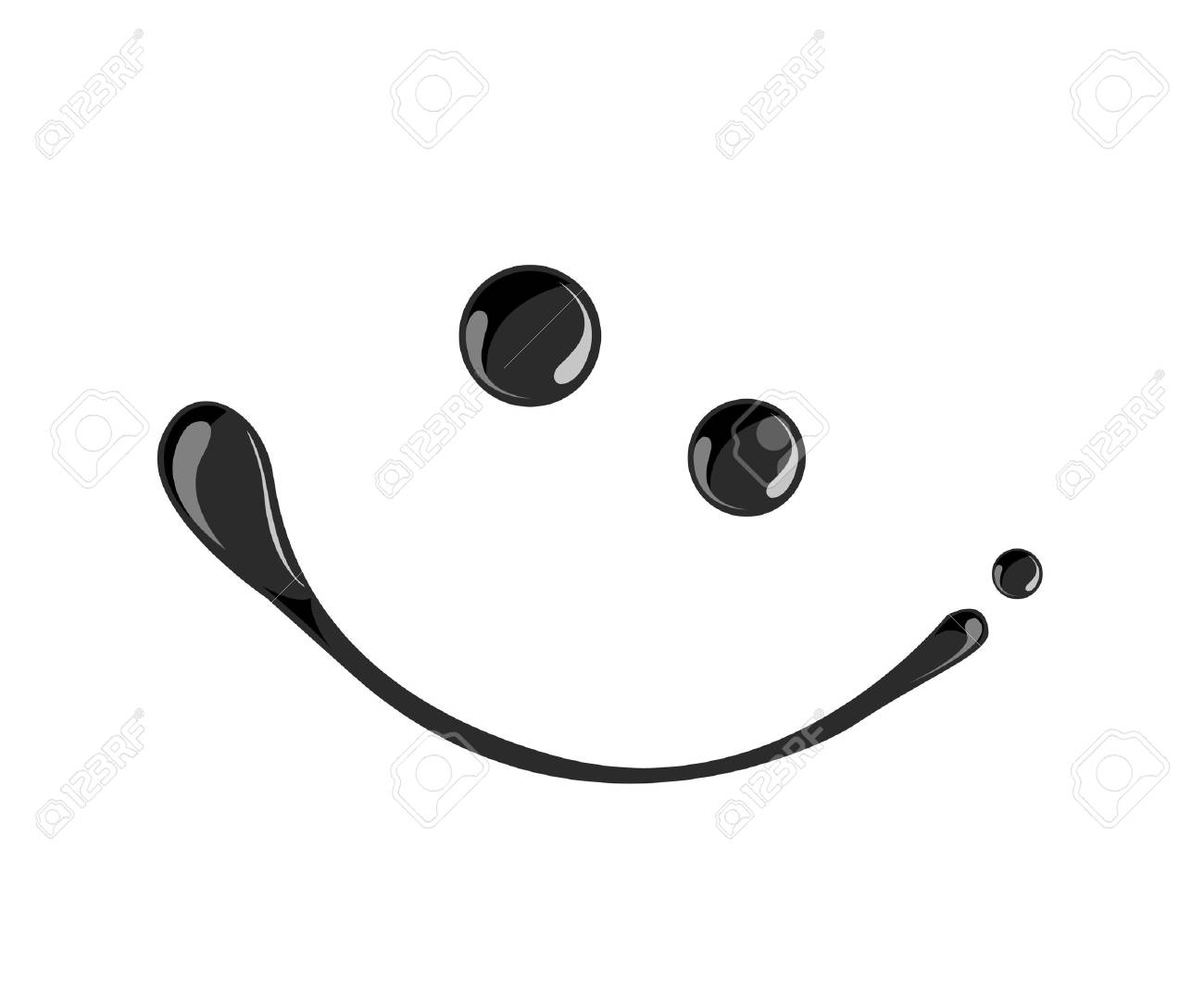 Black ink smile symbol vector dark,oil - 26275179