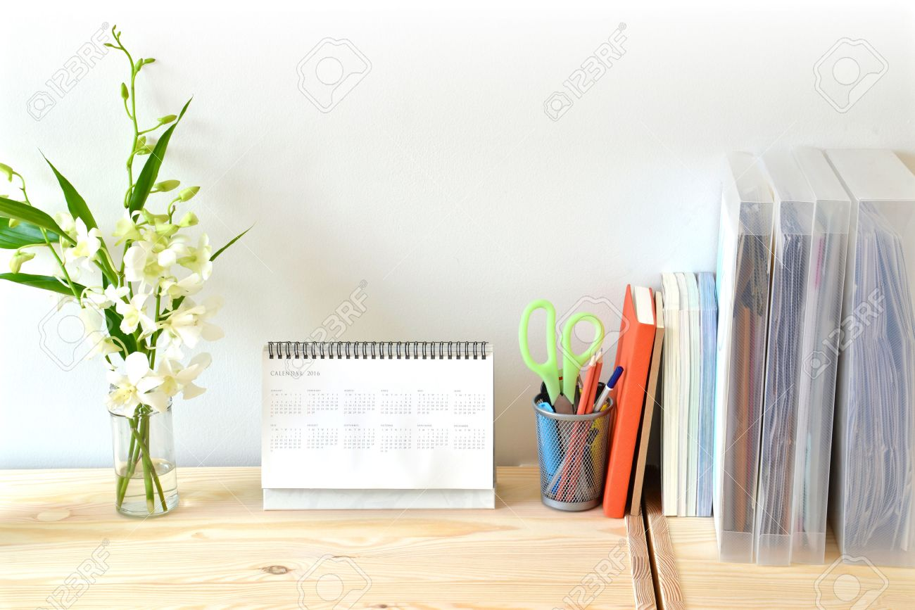 Home Office Table With Stationary Stock Photo   47162230