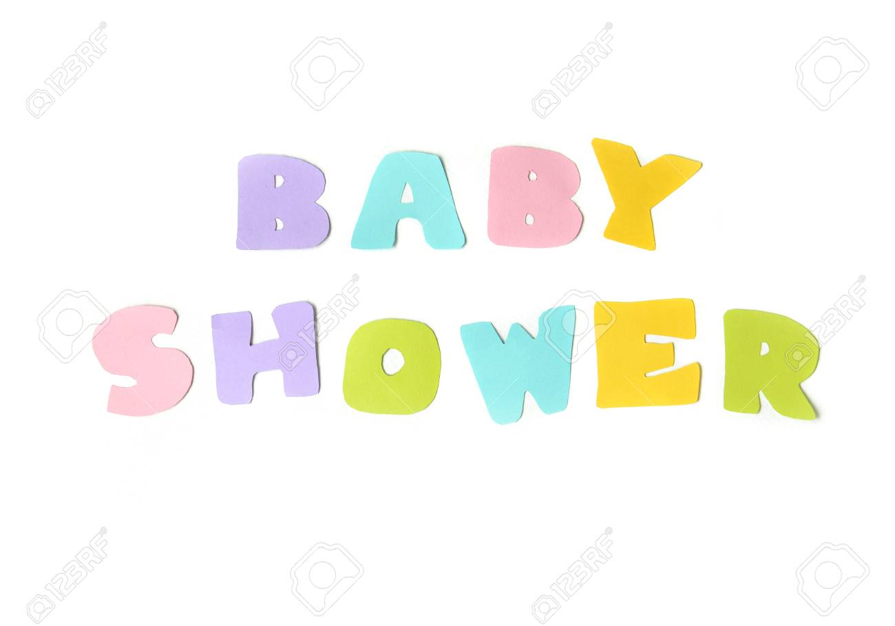 Baby Shower Text On White Background Isolated Stock Photo