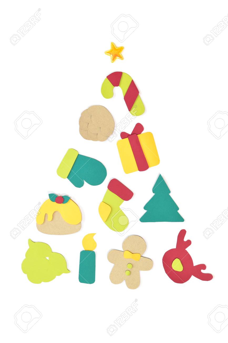 Christmas tree paper cut on white background isolatede stock photo 89705213