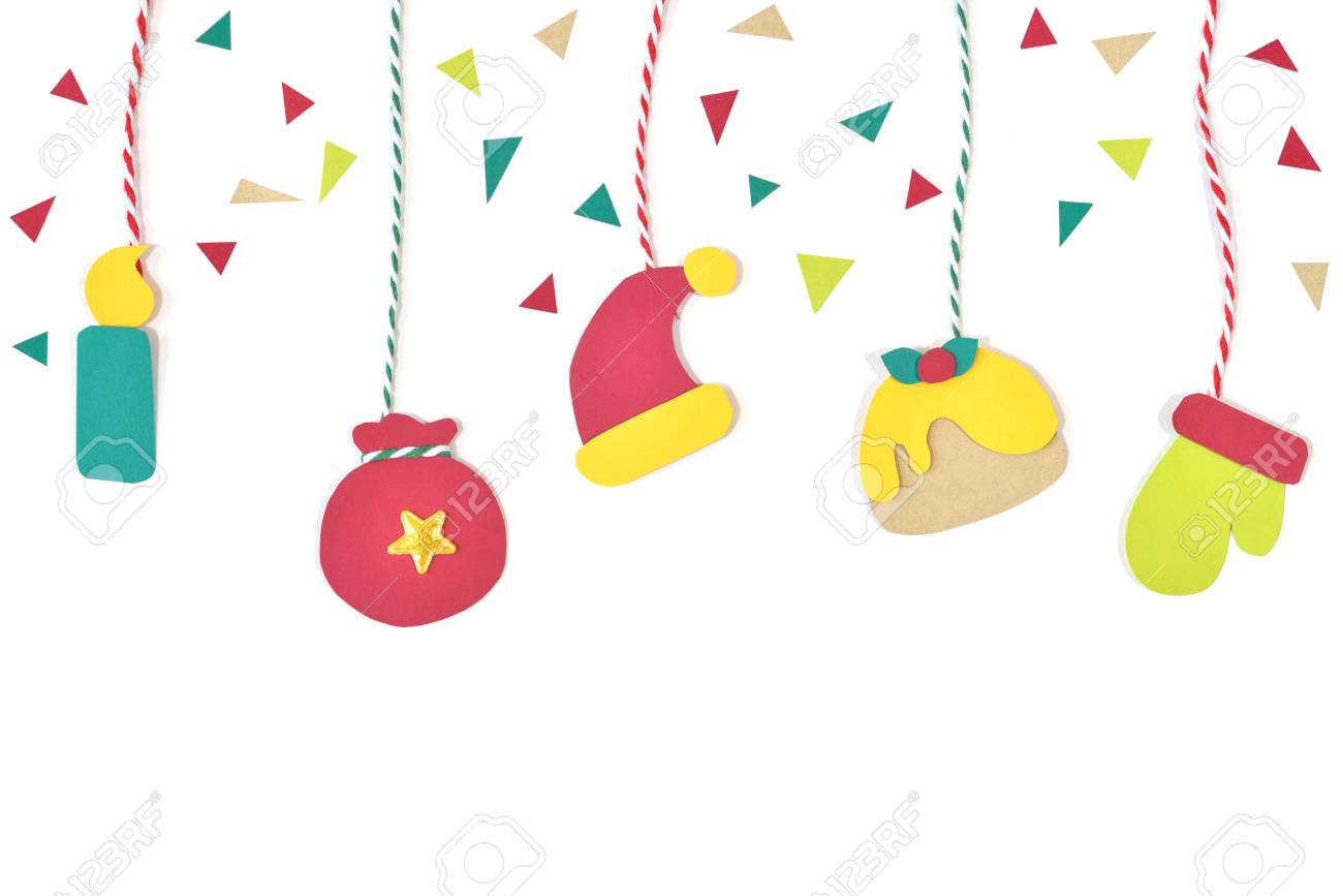 Christmas decoration paper cut on white background isolated stock photo 91467603