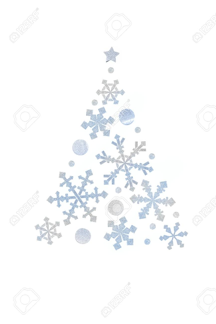 Snowflake christmas tree paper cut on white background isolated stock photo 108571742