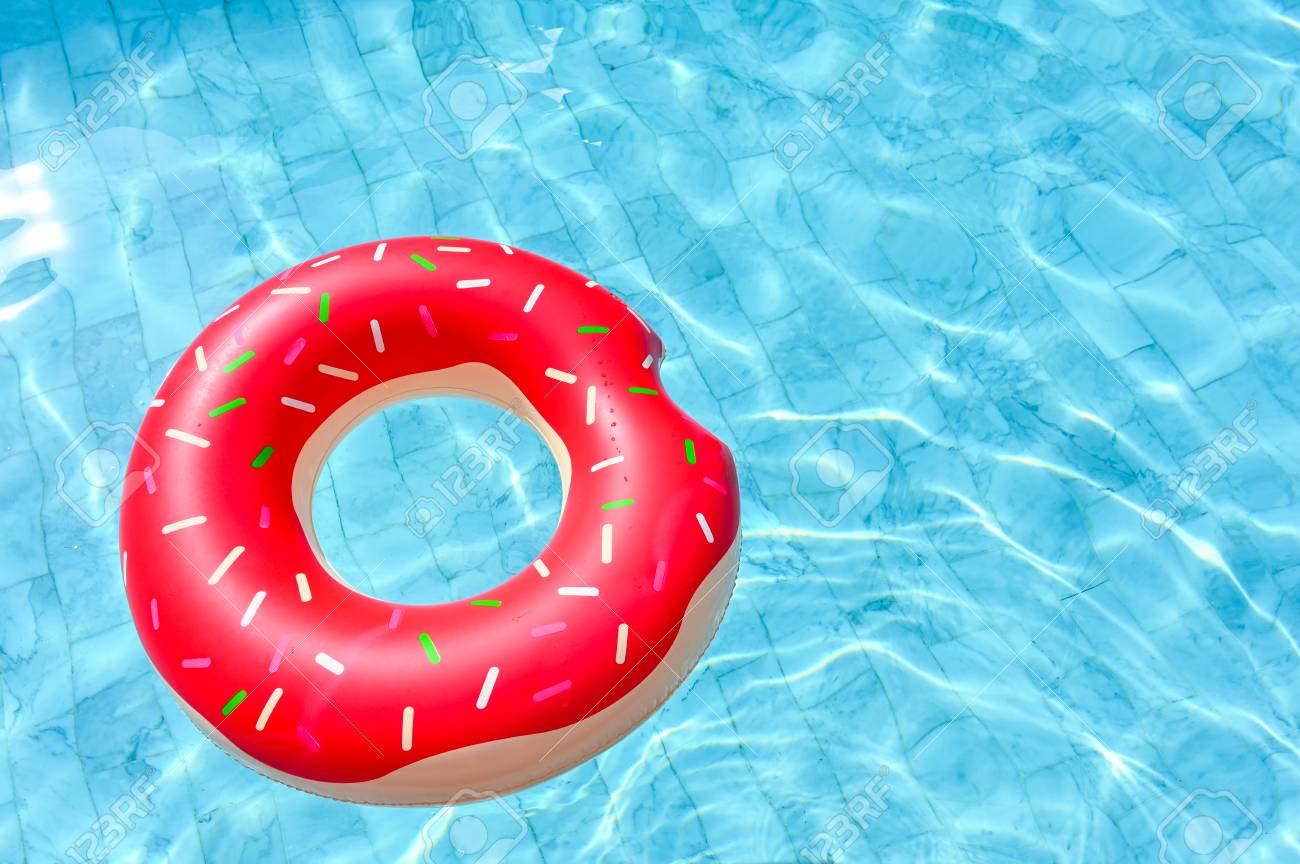 Donut shape, floating rubber ring in the swimming pool