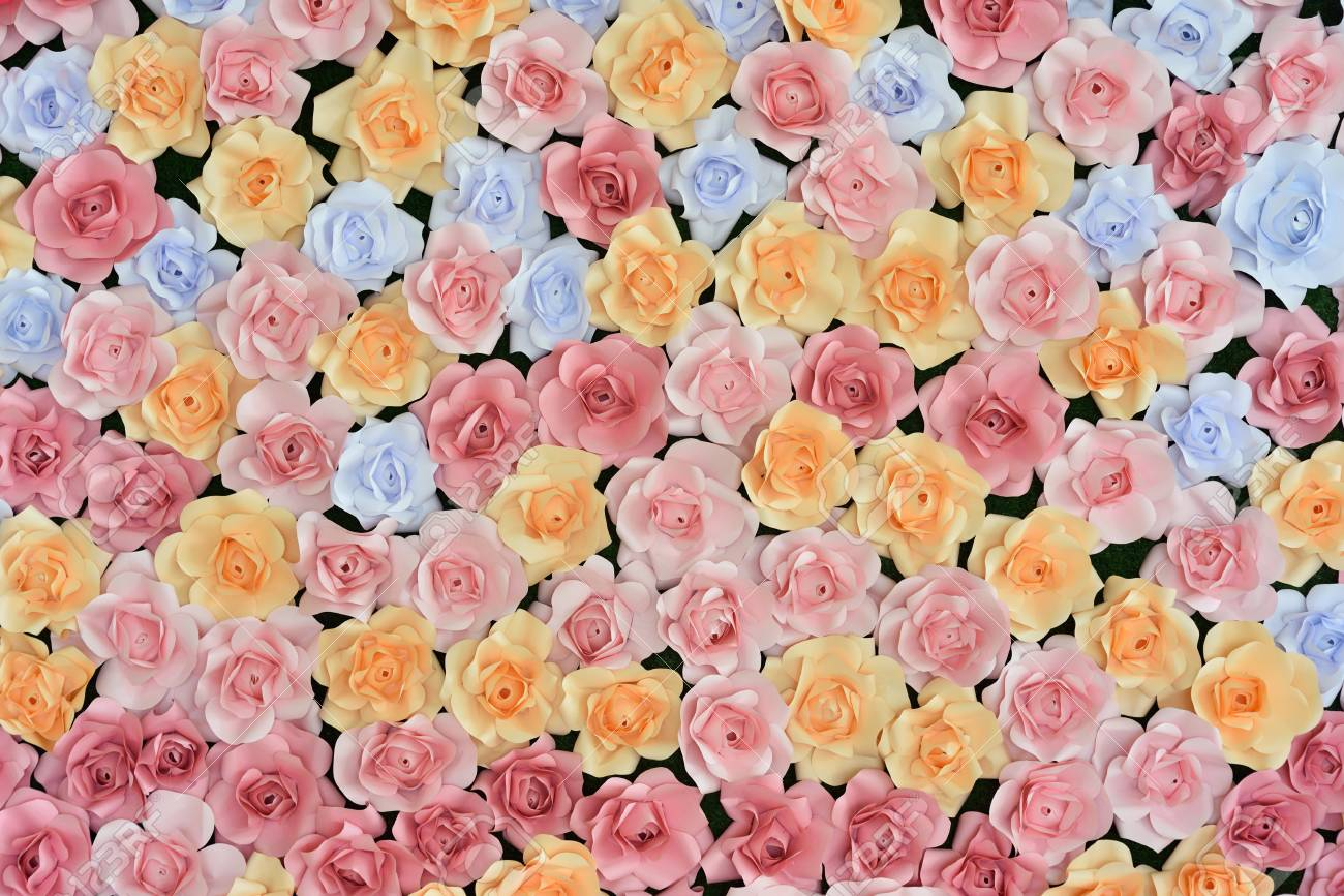 Paper Flowers Backdrop Stock Photo Picture And Royalty Free Image