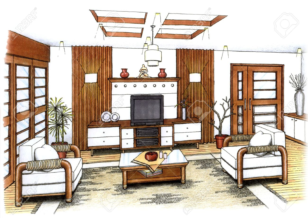 An Artist S Simple Sketch Of An Interior Design Of A Living Room Stock Photo Picture And Royalty Free Image Image 3145726