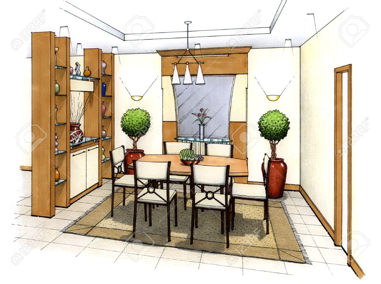Un Artista De La Simple Boceto De Un Diseño Interior De Un Salón